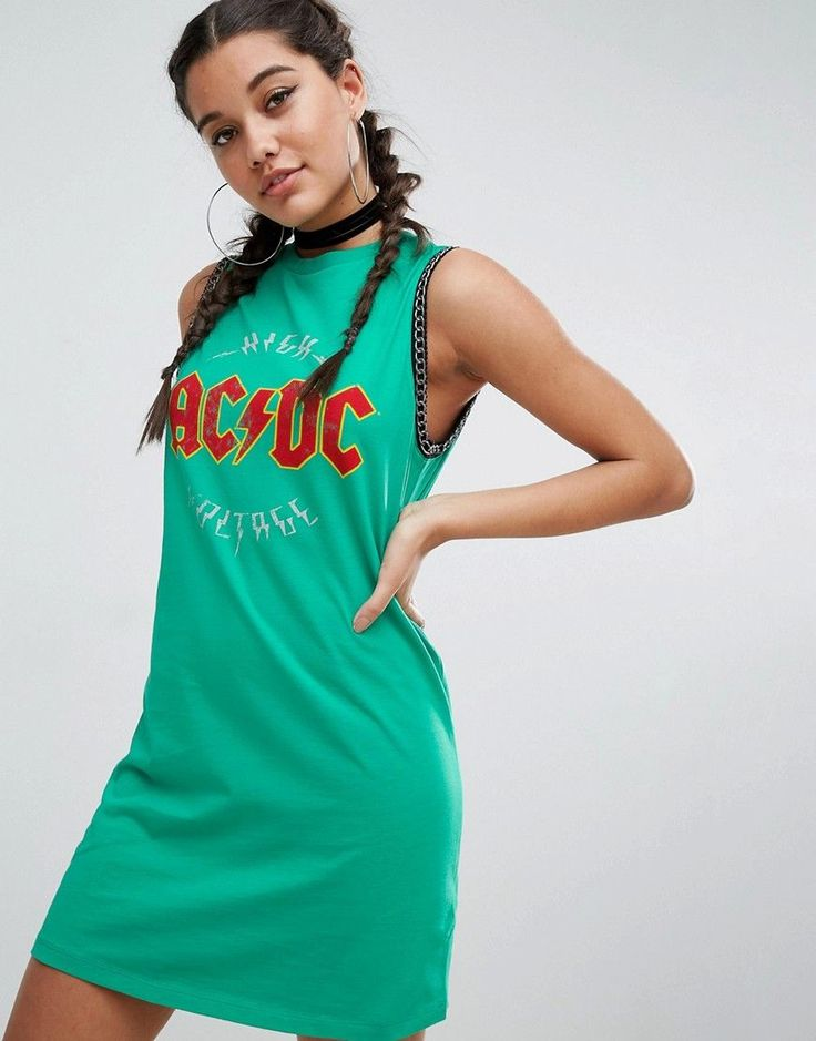 ASOS Sleeveless T-Shirt Mini Dress With ACDC Print and Chain Detail -