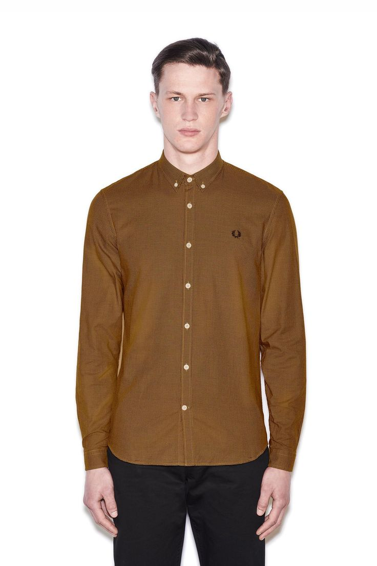 Fred Perry - Micro Houndstooth Shirt Mustard