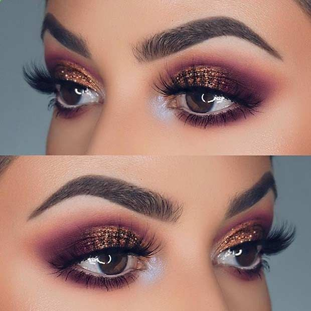 Purple and Bronze Glitter Eye Makeup Idea for Prom #makeupideasforprom