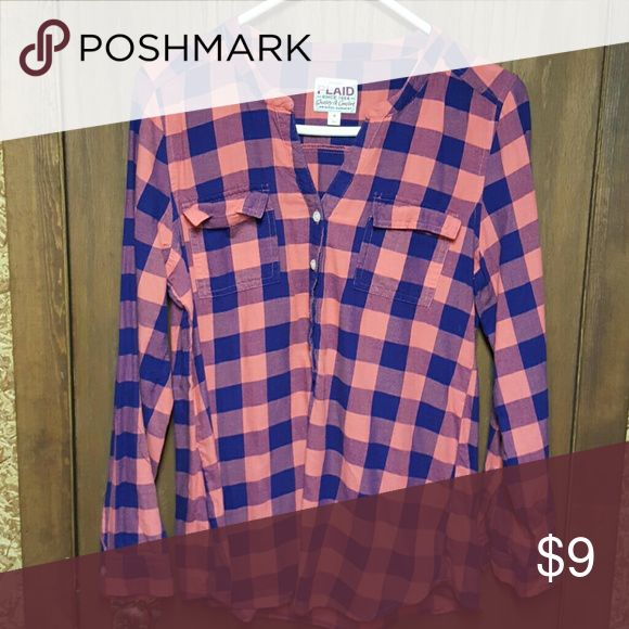 Plaid shirt Orange and blue plaid shirt from old Nav, size medium. Buttons down 3/4 of the way Tops Button Down Shirts