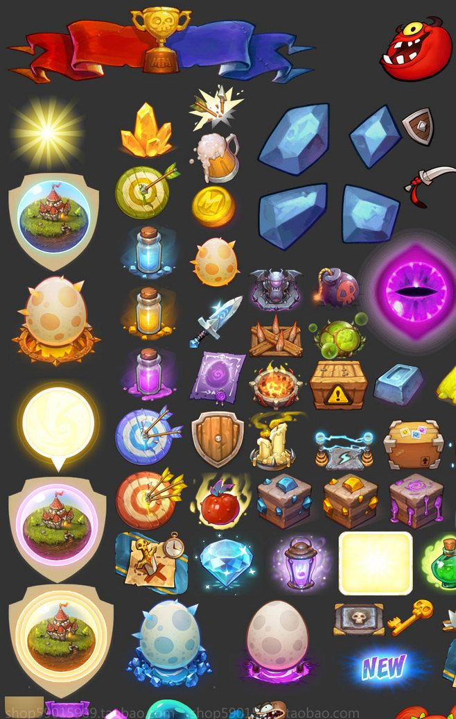 Game Art Resources / Q version arrogant monster UI creative ...