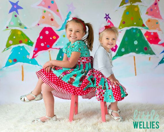 Nutcracker Sweets Patchwork Skirt and Dress for matching Sisters Christmas Handmade twirly unique by Little Wellies