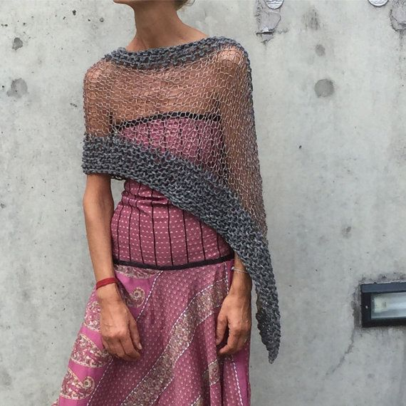 Gray sheer poncho coverup  LAST ONE in this shade by ileaiye