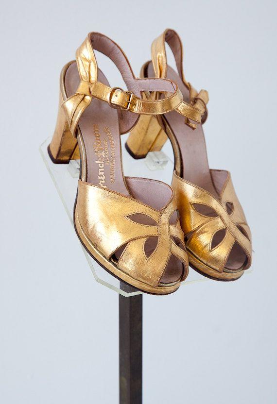 vintage 1920s heels / vintage 20s golden flapper heels / vintage 1920s shoes. $78.00, via Etsy.