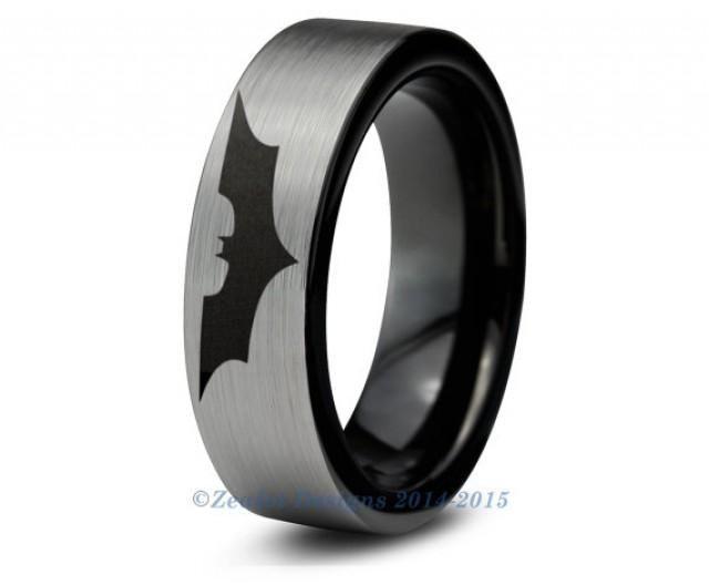 Batman Tungsten Wedding Band Ring Mens Womens Brushed Pipe Cut Black Fanatic Comic Geek Anniversary Engagement ALL Custom Sizes Available