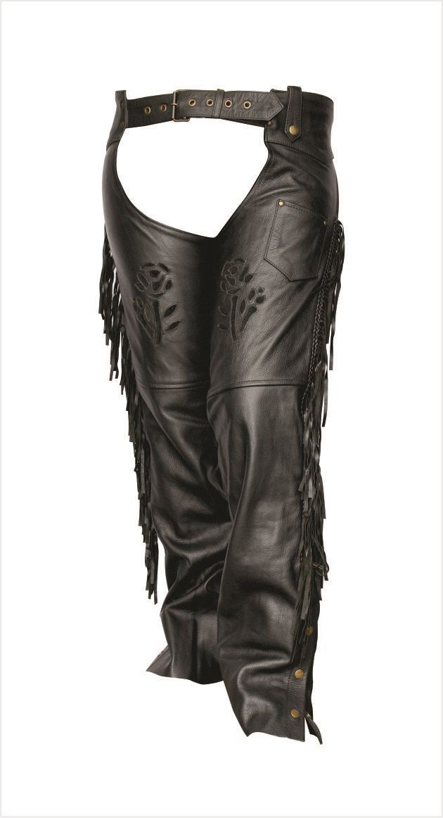 Womens Leather Motorcycle Chaps with Black Rose, Fringe and Braid by