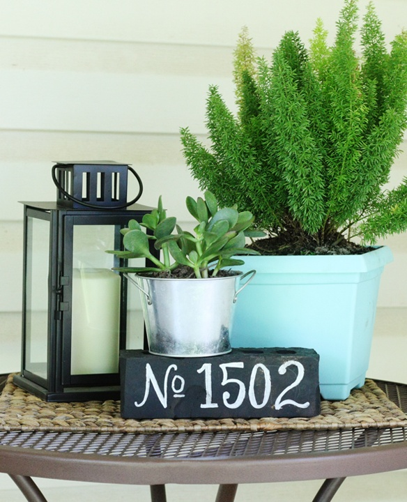DIY painted brick house number - on the blog today!