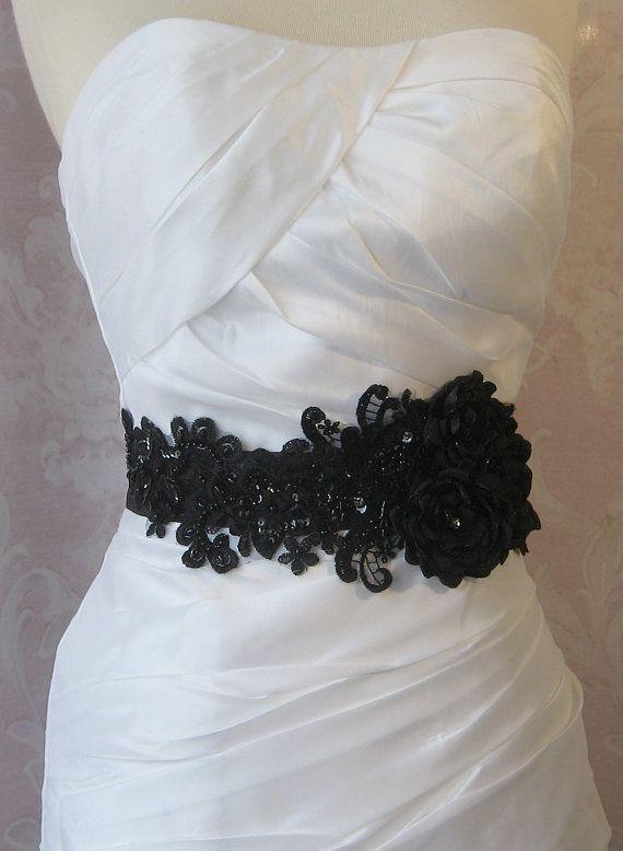 Black Bridal Sash, Wedding Belt with Handmade Flowers, Rhinestones and Beaded Lace - NOIRE on Etsy, $145.00