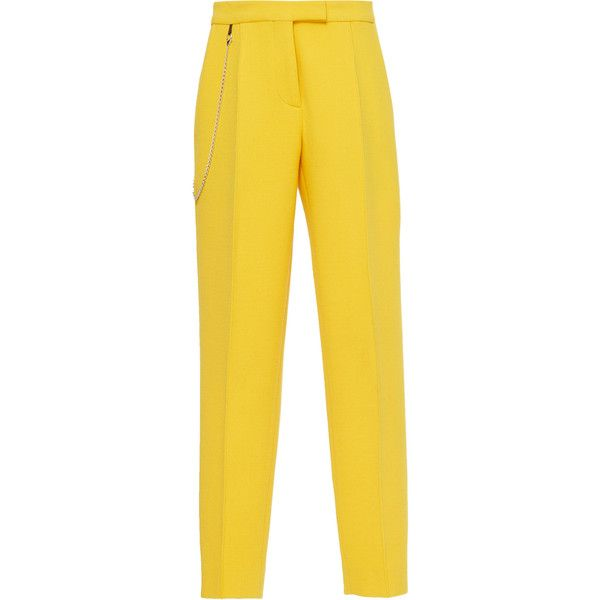 Tapered Leg Trouser | Moda Operandi ($2,400) ❤ liked on Polyvore featuring pants, button up jacket, button down jacket and yellow jacket