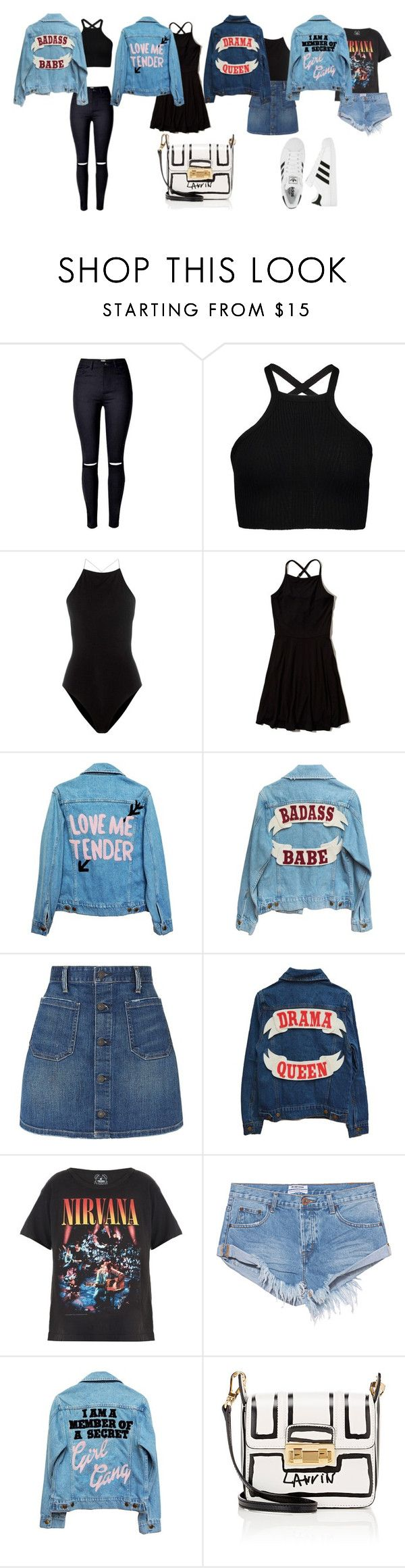 """denim jackets"" by san-yay on Polyvore featuring T By Alexander Wang, Hollister Co., High Heels Suicide, Denim & Supply by Ralph Lauren, Trunk LTD, OneTeaspoon, adidas, Lanvin, denim and denimjackets"