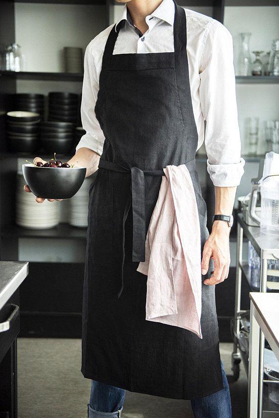 Bib linen apron with pocket Mens linen apron Kitchen apron for men Christmas apron for men Full linen apron
