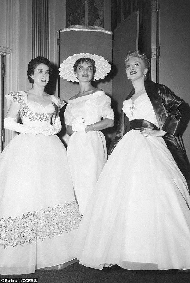 "thewonderous50s: ""Jacqueline Bouvier Kennedy Onassis (middle), and Celeste Holm (right) at The Waldorf Astoria, 1954 """