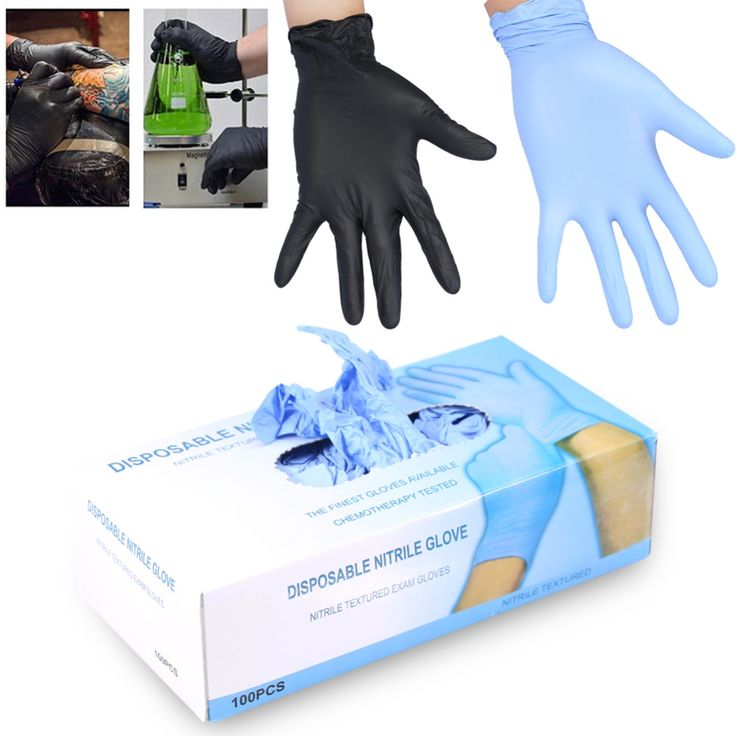 11.44$  Watch now - http://ali23d.shopchina.info/go.php?t=32805841687 - 100Pcs/Box 3 Sizes Nitrile Disposable Gloves Powder Free Mechanic Textured Exam Tattoo Nail Art Protective Accessory Black/Blue 11.44$ #buymethat