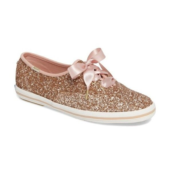 Women's Keds For Kate Spade New York Glitter Sneaker (€72) ❤ liked on Polyvore featuring shoes, sneakers, rose gold, rose gold shoes, rose gold glitter shoes, kate spade shoes, kate spade sneakers and glitter sneakers
