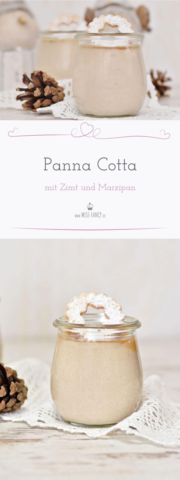 Panna Cotta ist ein italienisches Dessert, das du ganz einfach zu Hause selber machen kannst. Gerade jetzt in der Weihnachtszeit schmeckt dieses Dessert mit Marzipan und Zimt besonders lecker. #Panna Cotta #Pannacotta #Marzipan #Dessert