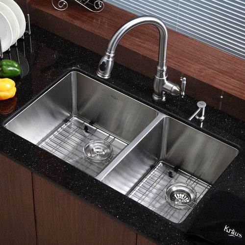 "Found it at AllModern - Kitchen Sink 32.75"" x 19"" Double Bowl Undermount Kitchen Sink"