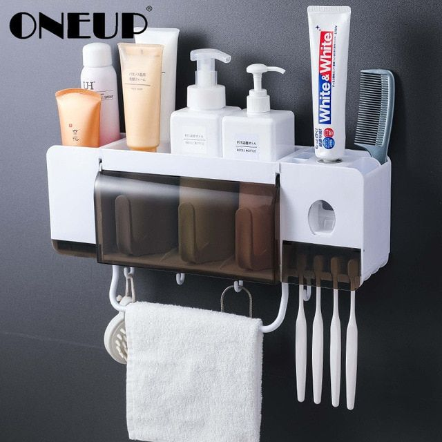 Toothbrush Holder Wall Mounted Bathroom Storage Rack Toothpaste Cup Family Set