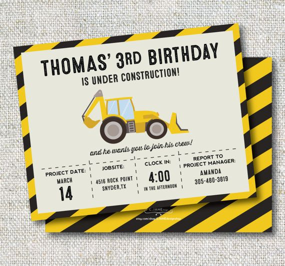 Construction Birthday Invitation: Trucks Boy by CJANEdesignshop