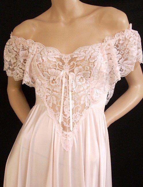Olga Romantic Pink Ruffle Lace Nightgown   http://www.heavenlyvintagelingerie.com/store/item/80103.Olga.Romantic.Pink.Ruffle.Lace.Nightgown.&.Robe.Set.~.Small