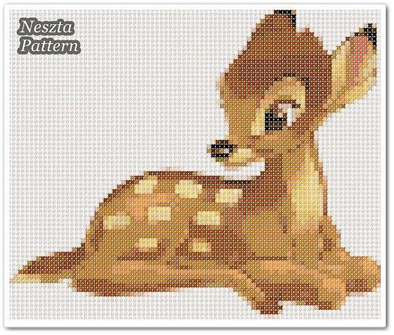 Bambi deer Cross Stitch Pattern Bambi Reindeer x by NesztaPattern