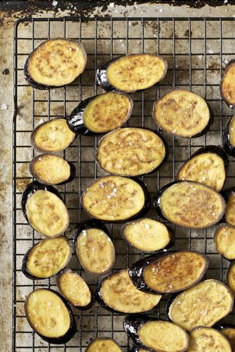 Fried asian eggplant on a cooling rack