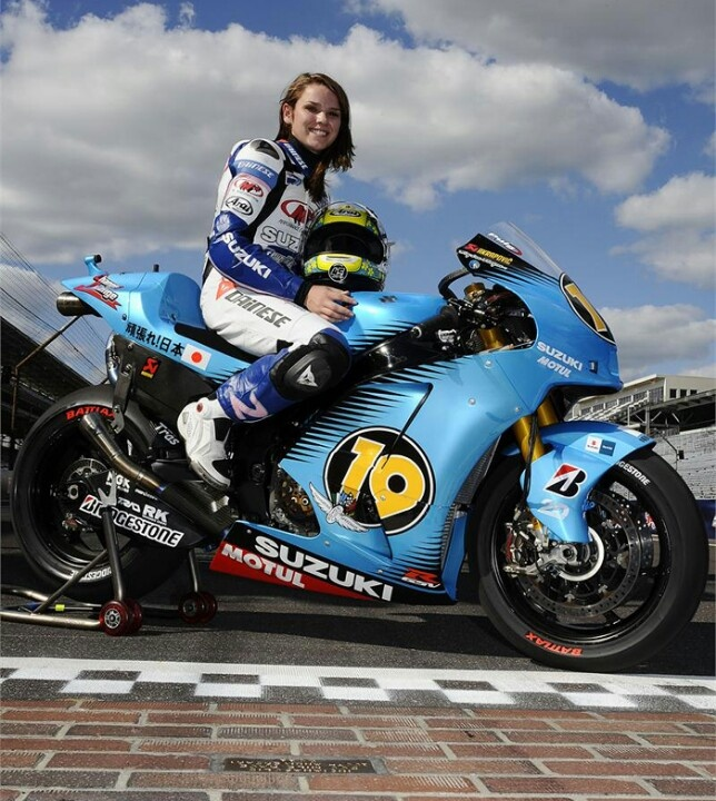 2011 GSV-R in special 'we've banned tobacco advertising in this country so when you race here you can't display any' livery. Sat on board is Elena Myers who races a Suzuki GSX-R600 in ama pro road racing.