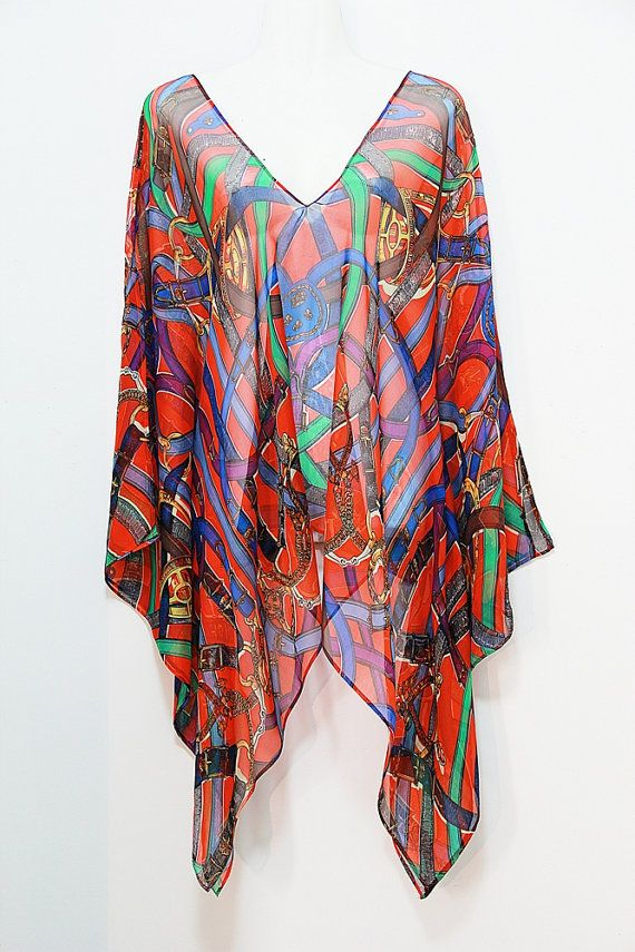Red Buckles and Belts Pure Silk Chiffon Kaftan Top by MollyKaftans, $99.00