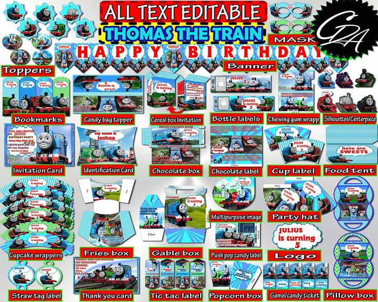 Thomas and friends Birthday Party Decorations Printable, Editable Birthday Thomas & friends Kit, Decor Set, Bundle Pack, Instant Download - tf4 #babyshowerdisney #babyshowerfrozen