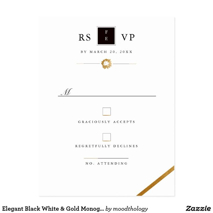 Elegant Black White & Gold Monogram RSVP Postcard