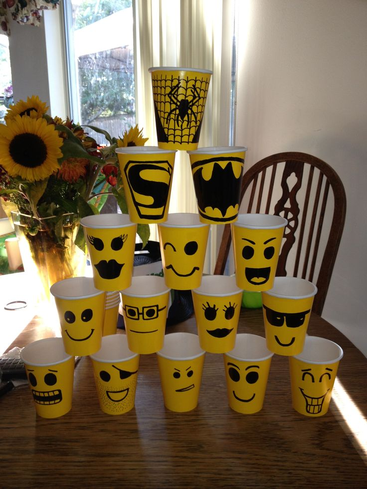 Lego superhero party cups