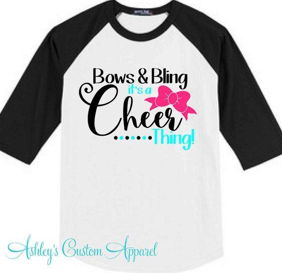 Cheer - Cheer Shirts - Bows and Bling - Cheer Baseball Tee - Cheerleader - Cheerleading Shirts - Cheer Bows - Cheering - Cheer Shirt - Cheer by AshleysCustomApparel