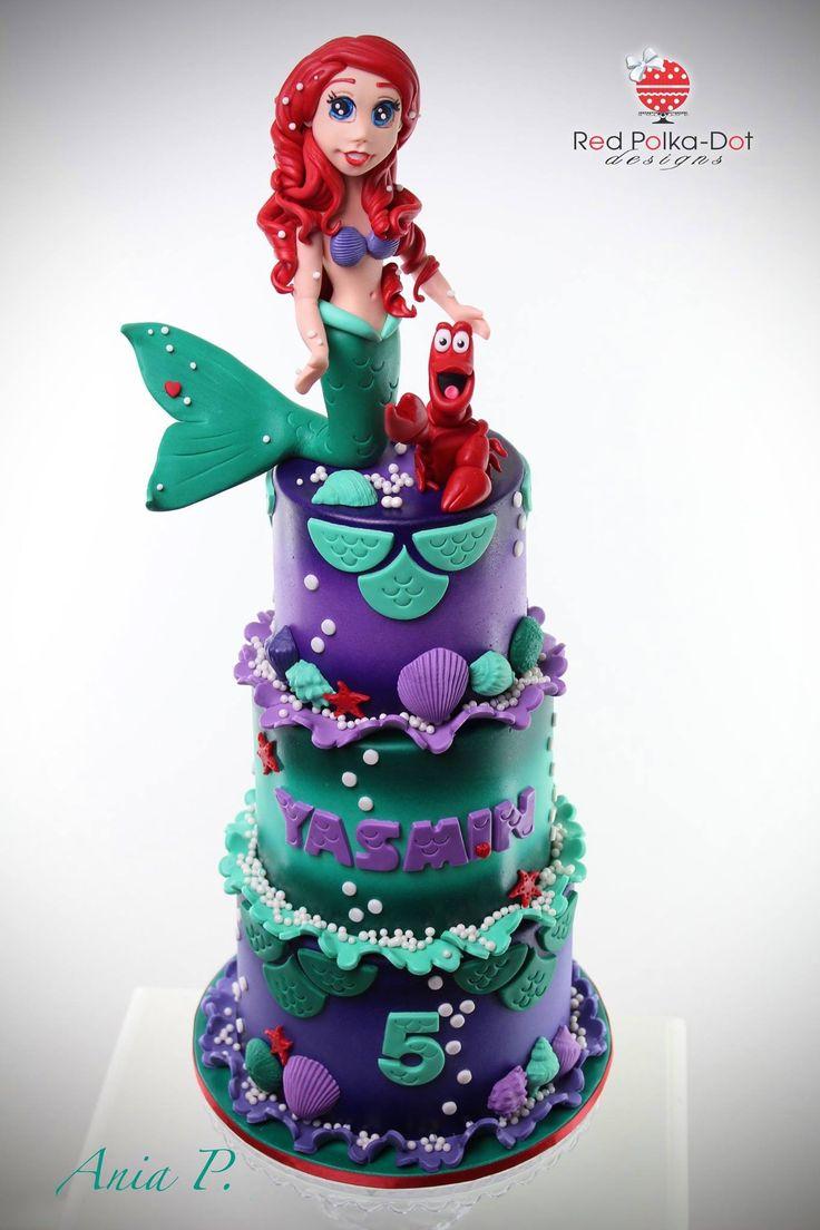 Ariel and Sebastian from The Little Mermaid, cake. By Red Polka Dot Designs #redpolkadotdesigns