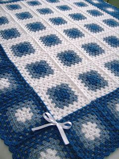 Love Crochet: Granny Square Quilt hand crochet Baby Boy blanket-love the colors