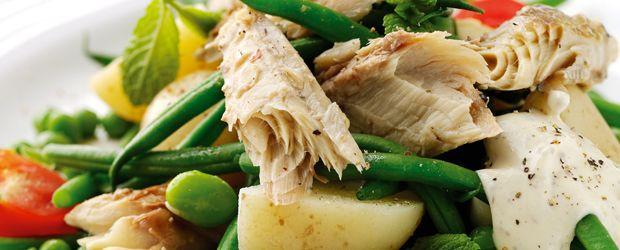 Aardappelsalade makreel met muntdip - Een gerecht van John West