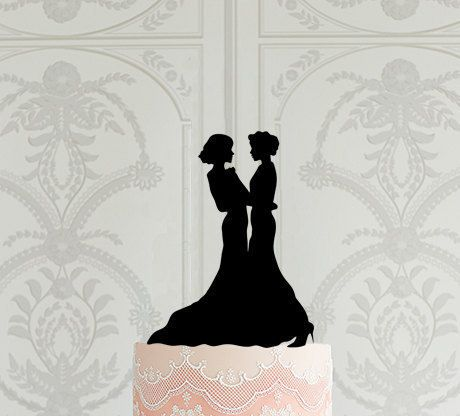 Lesbian Wedding Cake Topper, Mrs Mrs Cake Topper, Cake Topper Silhouette, Bride and Bride Cake Topper, Same Sex Wedding Cake Topper