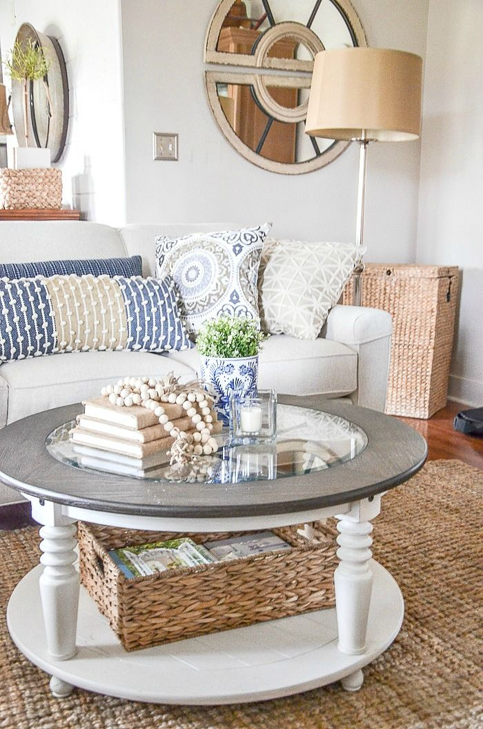Round Coffee Tables Are Not That Hard To Decorate When You Know How Keep Is Simple And You Can S Round Coffee Table Decor Table Decor Living Room Coffee Table