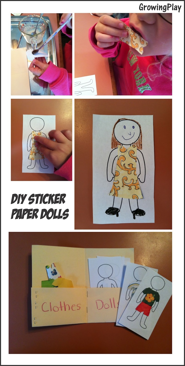 Growing Play: DIY Sticker Paper Dolls: Indoor Play, Paper Dolls, For Kids, Kids Therapy, Classroom Ideas, Kiddie Activities