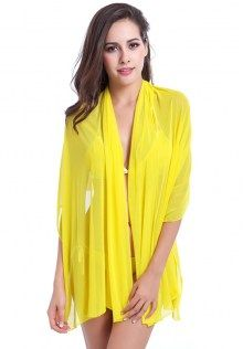 See Through Tulle Swimsuit Cover Up Yellow