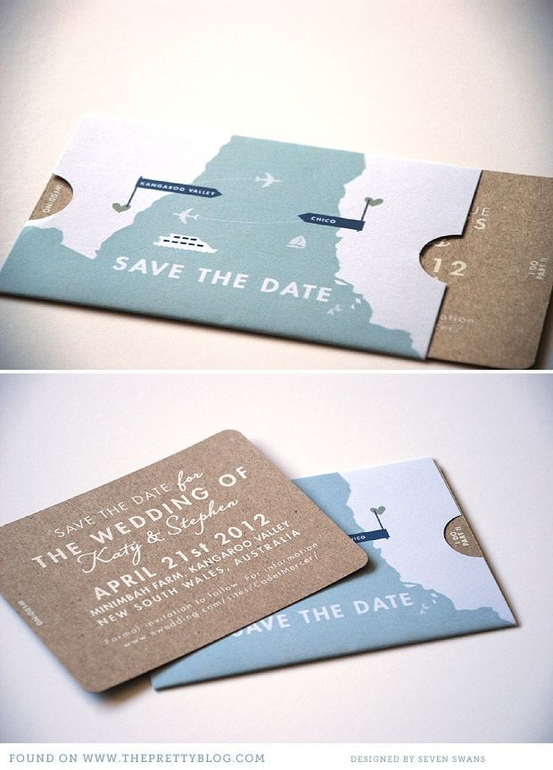 creative save the dates, ticket style invitations on kraft paper