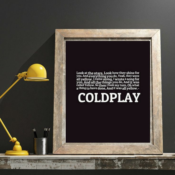 Yellow, Look at the stars, Coldplay Song Lyrics Quote, Song Lyrics, Inspirational Art, Fab Valentine's Gift, Music Poster, Music Lovers Gift by ReadMySongReadMySoul on Etsy
