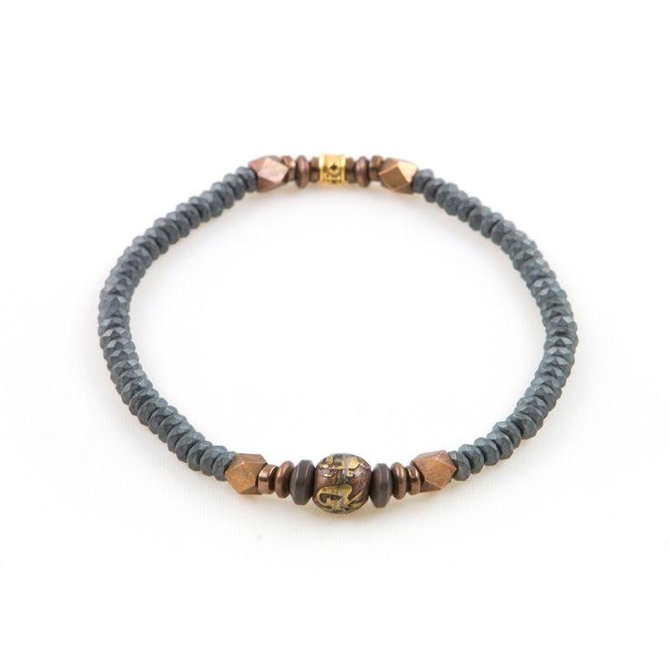 Men's Hematite Prayer Metallic Bracelet