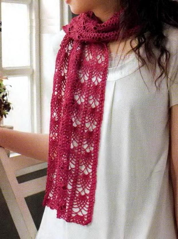 Lovely pineapple lace crochet scarf - diagram only pattern.