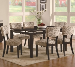 floating top table and upholstered chairs set