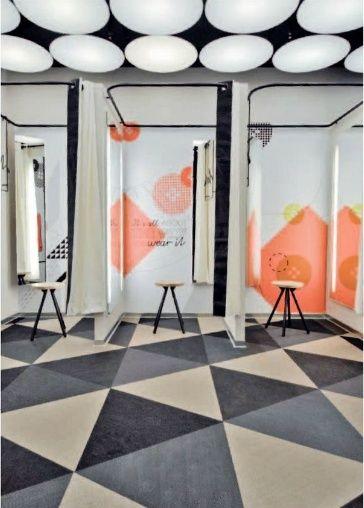 Like the Idea of a draped room repeated.  fitting room style