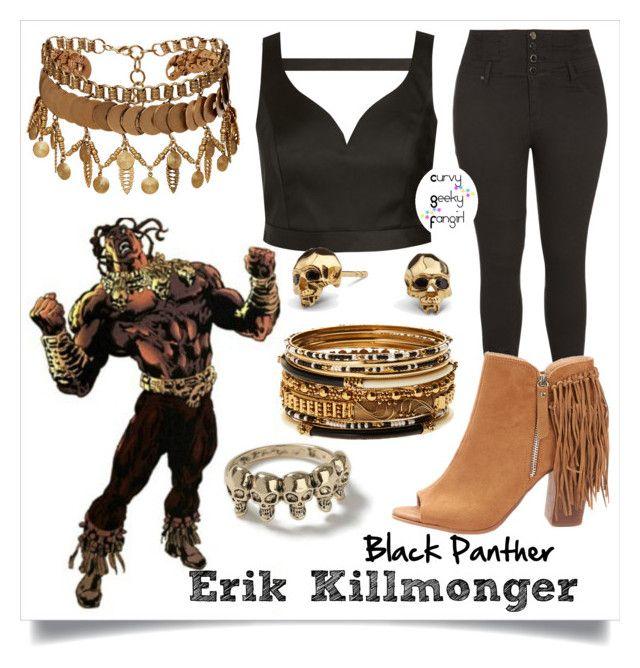 Erik Killmonger by curvygeekyfangirl on Polyvore featuring Elizabeth Cole, Amrita Singh, Kasun, Topman, plussize, fandomfashion, blackpanther and erikkillmonger