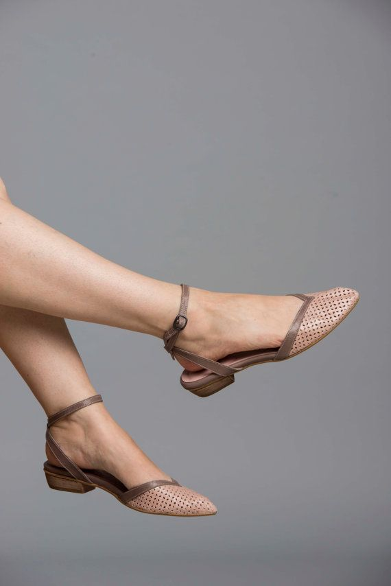Nude Flat Leather Shoes / Comfortable Elegant Shoes / Evening Shoes / Powder Ankle strap Shoes / Sharp Tip Shoes / Taupe Shoes - Edith