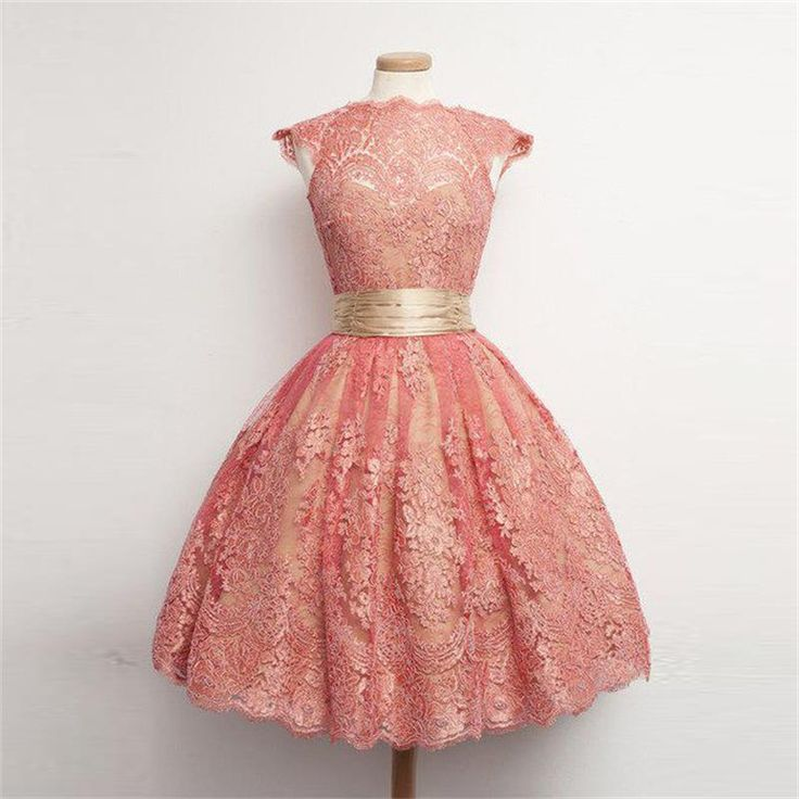 2017 Coral Lace Homecoming Dresses Ball Gown Cap Sleeve Pleat Sash Short Prom Party Dress Gowns for Christmas FX08
