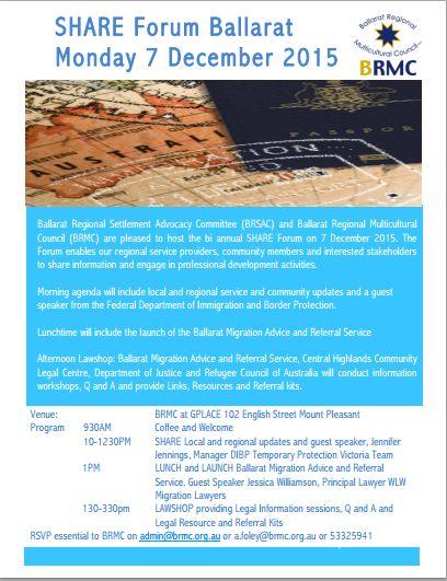 SHARE Forum Ballarat  Monday 7 December 2015  9:30-3:30pm BRMCatGPLACE 102 English Street Mount Pleasant RSVP essential to BRMC onadmin@brmc.org.au  or a.foley@brmc.org.auor 53325941