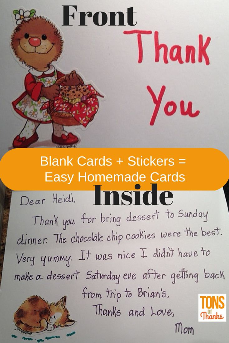 how to write thank you notes for wedding gift cards%0A Make homemade thankyou note cards using blank cards and stickers  This is a