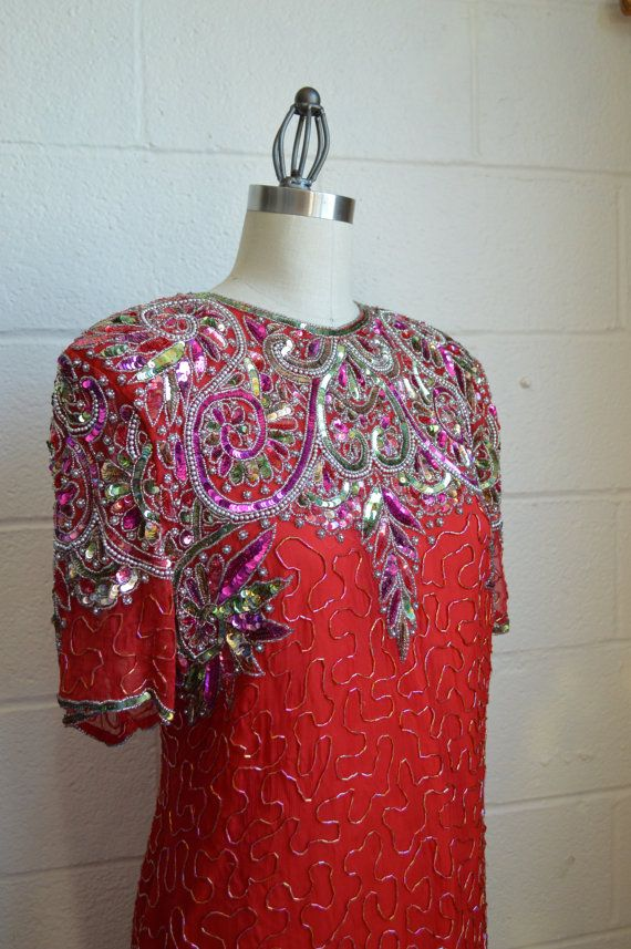 Hey, I found this really awesome Etsy listing at https://www.etsy.com/listing/268809046/red-sequin-dress-1980s-beaded-trophy